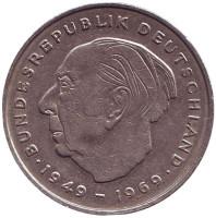 Теодор Хойс. Монета 2 марки. 1975 год (D), ФРГ.