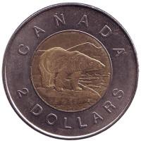 Полярный медведь. Монета 2 доллара. 2005 год, Канада.