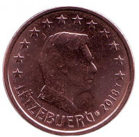 Монета 2 цента. 2018 год, Люксембург.