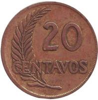 Монета 20 сентаво. 1964 год, Перу.