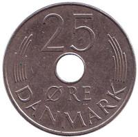 Монета 25 эре. 1976 год, Дания. S;B