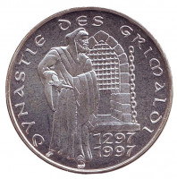 700 лет династии Гримальди. Монета 100 франков. 1997 год, Монако.