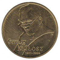 Чеслав Милош. Монета 2 злотых, 2011 год, Польша.