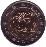 Птица. Монета 500 риалов. 2006 год, Иран. UNC.