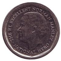 Норман Мэнли - национальный герой. Монета 5 долларов. 2014 год, Ямайка.