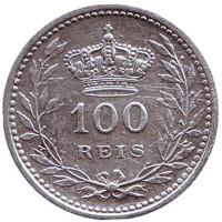 Монета 100 рейсов. 1909 год, Португалия.