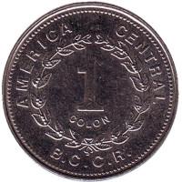 Монета 1 колон. 1993 год, Коста-Рика.