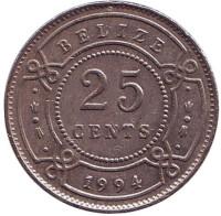 Монета 25 центов, 1994 год, Белиз.