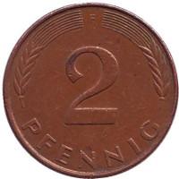 Дубовые листья. Монета 2 пфеннига. 1989 год (F), ФРГ.