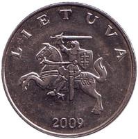Рыцарь. Монета 1 лит. 2009 год, Литва. Из обращения.