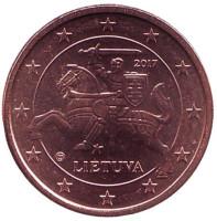 Монета 1 цент. 2017 год, Литва.