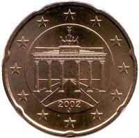Монета 20 центов. 2002 год (J), Германия.