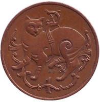 Мэнская кошка. Монета 1 пенни. 1980 год, Остров Мэн. (AB)