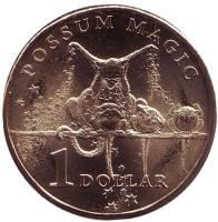 Бабушка опоссума. Монета 1 доллар. 2017 год, Австралия.