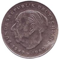 Теодор Хойс. Монета 2 марки. 1983 год (J), ФРГ. Из обращения.