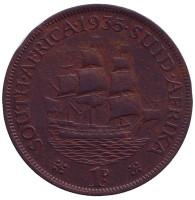 """Корабль """"Дромедарис"""". Монета 1 пенни. 1935 год, Южная Африка."""