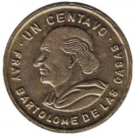 Бартоломе де лас Касас. Монета 1 сентаво. 1991 год, Гватемала.