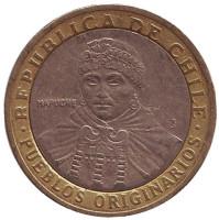 Индеец Мапуче. Монета 100 песо. 2001 год, Чили. Из обращения.