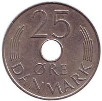 Монета 25 эре. 1977 год, Дания. S;B