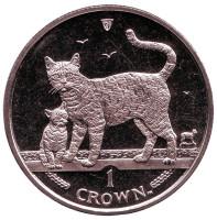 Бенгальская кошка. Монета 1 крона. 2002 год, Остров Мэн.