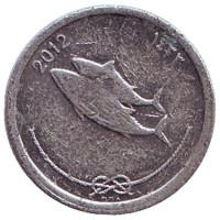 Атлантическая пеламида (Бонито). Монета 5 лари. 2012 год, Мальдивы. Из обращения.
