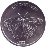 Бабочка. Монета 50 сантимов. 2002 год, Конго.