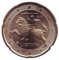 Монета 20 центов. 2017 год, Литва.