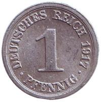 Монета 1 пфенниг. 1917 год (F), Германская империя.