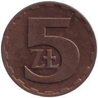 Монета 5 злотых. 1976 год, Польша.