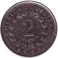 Монета 2 колона. 1984 год, Коста-Рика.