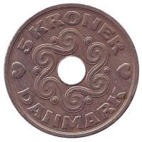 Монета 5 крон. 1990 год, Дания.
