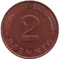Дубовые листья. Монета 2 пфеннига. 1993 год (D), ФРГ.