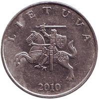 Рыцарь. Монета 1 лит. 2010 год, Литва. Из обращения.