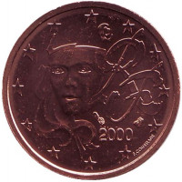 Монета 2 цента. 2000 год, Франция.