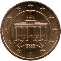 Монета 50 центов. 2002 год (J), Германия.