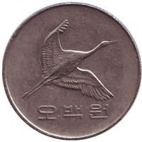 Маньчжурский журавль. Монета 500 вон. 2003 год, Южная Корея.