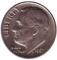 Рузвельт. Монета 10 центов. 1967 год, США.