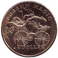 Опоссум на велосипеде. Монета 1 доллар. 2017 год, Австралия.