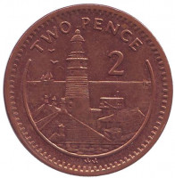 "Маяк. Монета 2 пенса. 2001 год, Гибралтар. (Отметка ""AA"")"
