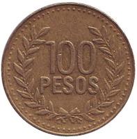 Монета 100 песо. 2006 год, Колумбия.