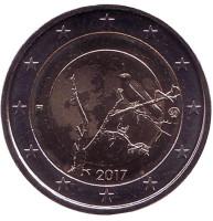 Природа Финляндии. Монета 2 евро. 2017 год, Финляндия.