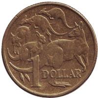 Кенгуру. Монета 1 доллар. 2005 год, Австралия.