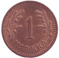 1 марка. 1943 год (медь), Финляндия. XF-aUNC.