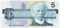 Уилфрид Лорье. Банкнота 5 долларов. 1986 год, Канада.