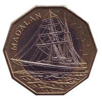 Мадалан. Корабль. Монета 100 эскудо. 1994 год, Кабо-Верде. (кольцо из бронзы).