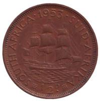 """Корабль """"Дромедарис"""". Монета 1 пенни. 1953 год, Южная Африка."""