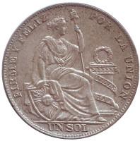 Монета 1 соль. 1934 год, Перу.