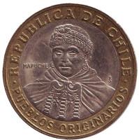 Индеец Мапуче. Монета 100 песо. 2003 год, Чили.