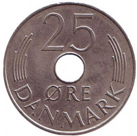 Монета 25 эре. 1979 год, Дания. B;B