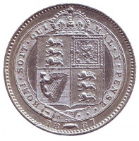 Королева Виктория. Монета 1 шиллинг. 1887 год, Великобритания.